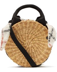 Muuñ Rosa Checked Mohair And Straw Bag - Brown