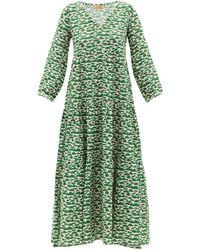 Muzungu Sisters Frangipani Tiered Linen Maxi Dress - Green
