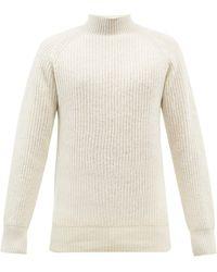 YMC High-neck Ribbed Wool Jumper - White