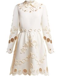 Valentino Floral Piping Embellished Crepe Midi Dress - White