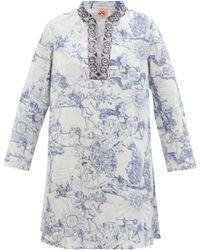 Le Sirenuse New Charlotte Tarocchi-print Cotton Kaftan - Blue