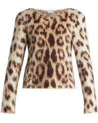 Loewe - Leopard Print Mohair Jumper - Lyst