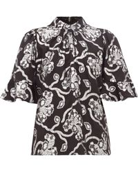 Rebecca Taylor Trumpet-sleeve Floral Brocade Silk-blend Top - Black