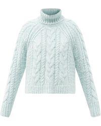 Cecilie Bahnsen Freja Roll-neck Cable-knit Silk Jumper - Blue