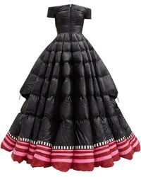 1 MONCLER PIERPAOLO PICCIOLI Off-the-shoulder Lacquered Down-filled Gown - Black