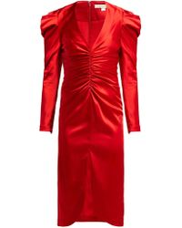 Jonathan Simkhai Puff Sleeve Ruched Satin Midi Dress - Red