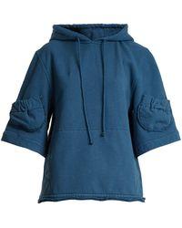 JW Anderson - Raw-edge Hooded Stretch-cotton Sweatshirt - Lyst