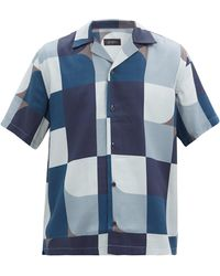 Saturdays NYC キャンティ ジオブロックプリント リヨセルシャツ - ブルー