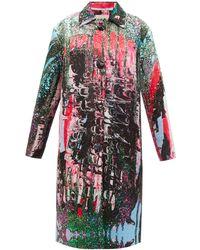 Christopher Kane Mindscape Abstract-print Satin Coat - Multicolour