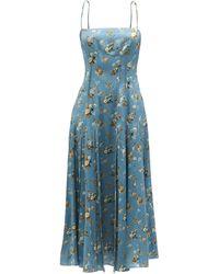 Brock Collection タイアナ フローラルシルククレープドレス - ブルー