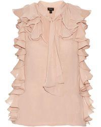 Giambattista Valli - Ruffle-trimmed Silk-georgette Blouse - Lyst