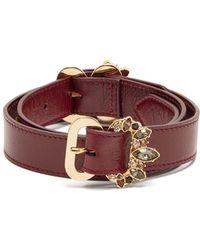 Erdem Crystal Embellished Leather Belt - Multicolor