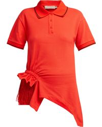 Preen Line Fringed Cotton Polo Shirt - Red