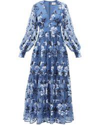 Erdem タベサ フローラル シルクオーガンザドレス - ブルー