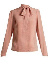 Rochas - Tie-neck Pleated Silk Blouse - Lyst