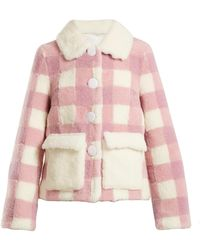 Saks Potts | Lucy Checked Shearling Jacket | Lyst