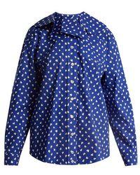 Marni - Ruffled-collar Fleck-print Cotton Shirt - Lyst