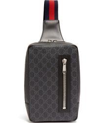 Gucci Gg Supreme Leather Cross Body Bag - Black