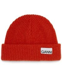 Ganni Logo-patch Ribbed Wool-blend Beanie - Orange