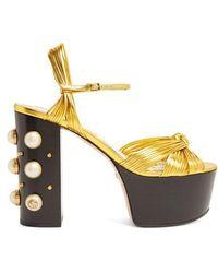 Gucci Allie Embellished-heel Platform Sandals - Metallic