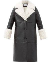 Stand Studio Linda Faux Shearling-trimmed Faux Leather Coat - Black