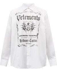 Vetements ブラックレーベルプリント コットンシャツ - ホワイト
