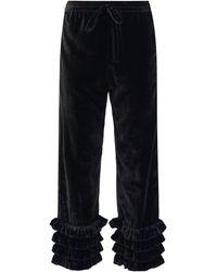 Muzungu Sisters Talitha Ruffled Silk-blend Velvet Cropped Pants - Black