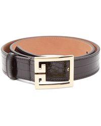 Givenchy Logo-buckle Crocodile-effect Leather Belt - Black