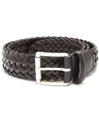 Andersons Woven-leather Belt - Black