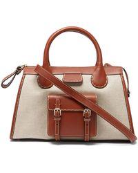 Chloé Edith Leather-trim Canvas Handbag - Brown
