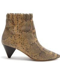 Isabel Marant - Leffie Snake Effect Leather Ankle Boots - Lyst