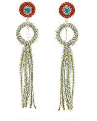 Etro - Crystal Embellished Tassel Drop Earrings - Lyst