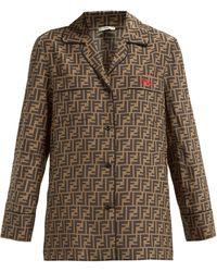 Fendi Logo-print Silk Crepe De Chine Pyjama Shirt - Brown