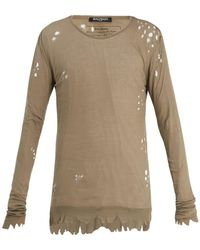Balmain - Distressed Ribbed-knit Jersey Sweater - Lyst