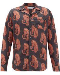 Desmond & Dempsey Sansindo タイガープリント パジャマシャツ - マルチカラー