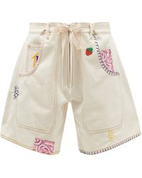La Fetiche Jodie High-rise Embroidered Upcycled-denim Shorts - Natural