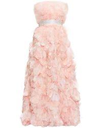 Dolce & Gabbana クリスタルベルト フェザードレス - ピンク