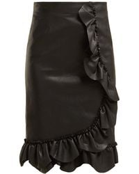 Rebecca Taylor - Ruffled Faux Leather Pencil Skirt - Lyst