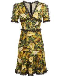 Dolce & Gabbana - Pear Print Midi Dress - Lyst