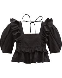 RHODE Charlotte Ruffled Cotton-poplin Cropped Top - Black