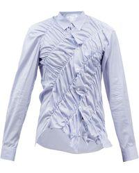 Comme des Garçons Comme Des Garçons Shirt ギャザー ストライプ コットンポプリンシャツ - ブルー