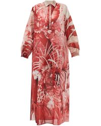 F.R.S For Restless Sleepers Liriope Jungle-print Cotton-muslin Kaftan - Womens - Pink Multi