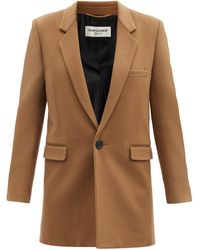 Saint Laurent Single-breasted Wool-blend Felt Coat - Brown