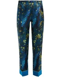 F.R.S For Restless Sleepers Etere Peacock Print Silk Pants