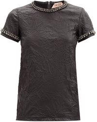N°21 クリスタル フェイクレザーtシャツ - ブラック