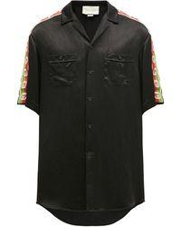 Gucci グッチアセテート オーバーサイズ ボウリングシャツ - ブラック