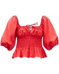 RHODE Jodie Puff-sleeve Shirred Cotton-poplin Top