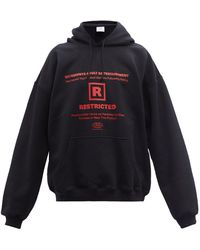 Vetements R-rated Logo-print Cotton-blend Hooded Sweatshirt - Black