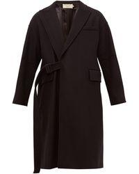 Maison Kitsuné Belted Wrap Coat - Black