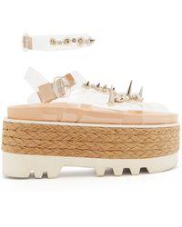 Simone Rocha Embellished Pvc-strap Espadrille Flatform Sandals - White